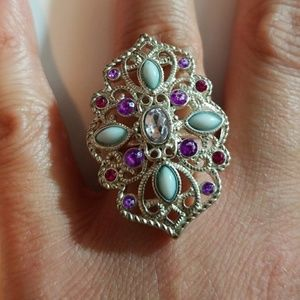 Silver Multicolored Jewel Statement Ring